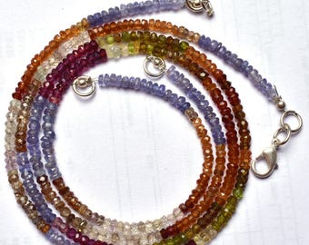 1 Stand 15.5 inch Natural Rare Gem Multi color Garnet Faceted  Rondelle Beads Necklace  3 TO 3.5 MM