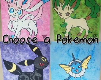 Choose a Pokemon: Custom Pokemon painting [with glow in the dark skeleton]