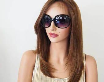 Lace Front Wigs | Highlighted Wigs | Medium Wigs | Highlighted Wigs | Short Wigs For Women | Light Weight Wigs | Natural Human Hair