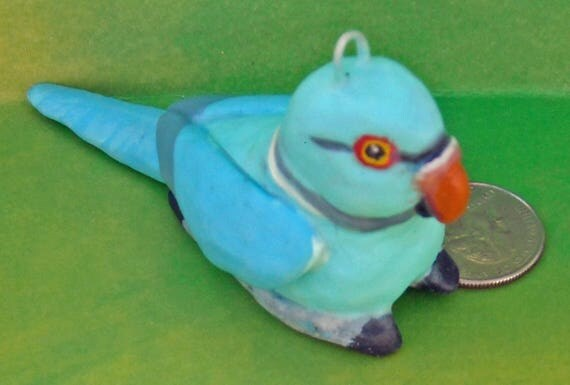 Sally Blanchard Tongue-in-Beak Clayworks Christmas Ornament Adorable Blue Mutation Ringneck Parakeet Parrot Hand-crafted One-of-a-Kind