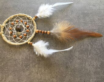 Dream catcher hand made for hanging from a rear view mirror