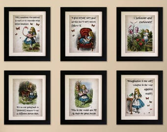 Set of 6 FRAMED Alice in Wonderland Vintage Style Quote Prints, Shabby Chic, Wall Art Print, Fab Picture Gift