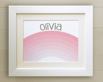 FRAMED Personalised Pink Rainbow PRINT, New Baby/Birth Nursery Picture Gift, Choice of 3 frames, Fab Picture Gift