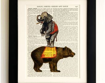 FRAMED ART PRINT on old antique book page - Circus Bear and Elephant, Vintage Upcycled Wall Art Print Encyclopaedia Dictionary Page