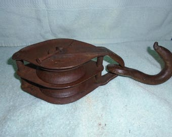 Block and tackle.  Vintage pulley. Barn pulley. Pulley. hay loft pulley