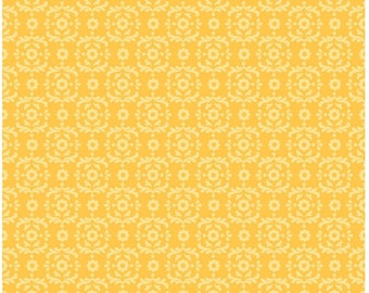 On SALE Summer Song 2 Yellow Damask Fabric 24 INCHES End Of Bolt By Riley Blake Designer Fabric