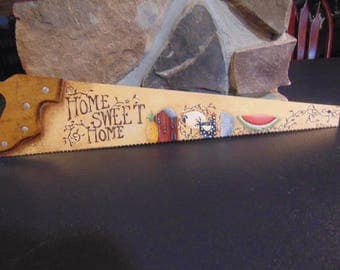 country decor hand painted hand saw