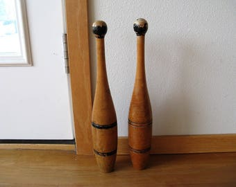 Antique Primitive Wood Wooden Indian, Exercise Club, Circus Juggling Pins, black stripes , antique sporting goods