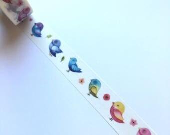 Mulitcoloured bird washi tape