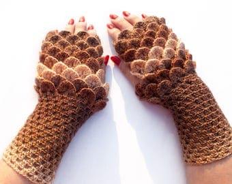 Dragon Scale Fingerless Gloves, Dragon Gloves, Crocodile Fingerless Gloves, Crochet Gloves, Gift For Christmas by LoveKnittings