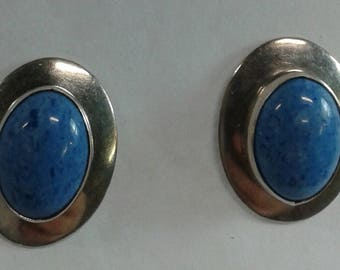 Classic Oval Denim Lapis Sterling Silver Earrings Posts