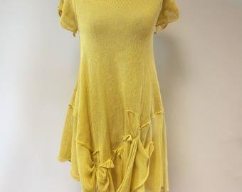 Summer yellow linen dress, M size.