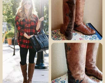 Vintage Italian leather distressed western riding boots knee high designer boots Italian leather made in Italy cowgirl chic