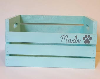 Personalized Custom Dog or Cat Wooden Toy Crate