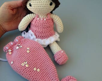 Amigurumi doll, mermaid doll, Crochet doll, soft toy, nursery decor, collective dolls