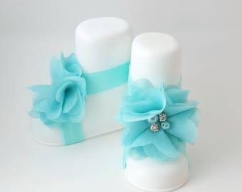 Aqua Blue Barefoot Baby Sandals - Barefoot Sandals - Aqua Cake Smash - Aqua Headband - Newborn Headband - Baby Girl Sandals - Aqua Baby Bow