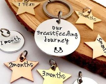 My Breastfeeding Journey Keyring, Breastfeeding Awards, Award, Breastfeeding Jewellery, New Baby, Gifts for New Mum, Gifts for Mummy, Months