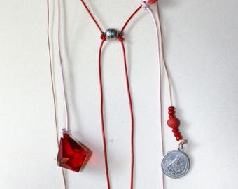 Unique necklace Ruby Red elbow
