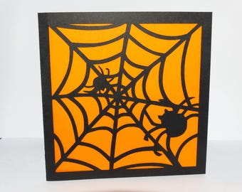 Card halloween Spider Web and spider