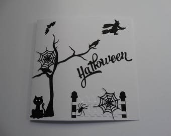 Halloween Black and white landscape card