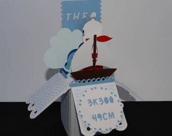 Birth announcements pop-up sailboat