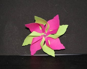 Double windmill: Green lime and fuchsia