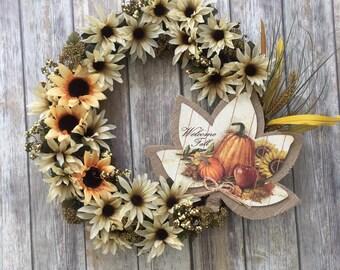 "18"" Autumn Wreath - Thanksgiving Wreath - Grapevine Wreath - Fall Decor - Autumn Decor - Front Door Wreath - Welcome Wreath - Burlap Wreath"