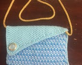 Turquoise Crochet clutch bag  purse with gold strap