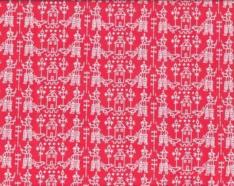 Tissu Patchwork coton rouge et blanc motifs folklore hollandais