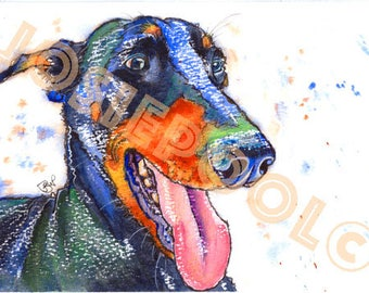 DOBERMAN Pinscher PRINT Picture Dog Painting Pup of Original Watercolour Watercolor Painting Picture Art Artwork by Josie P.