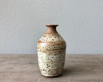 Modern handmade pottery speckled matte white stoneware bottle vase, mid-century decor Haight Pottery Company