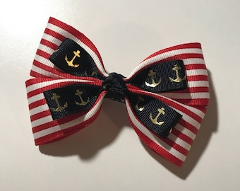 Hair Bow: Nautical Anchors