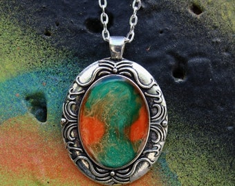 Orange & Green Hand Painted Necklace | Gun Metal Abstract Pendant