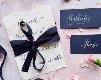 Ruban de soie bleu marine, 6 yards habitai soie teints à la main ruban, ruban de soie teints à la main, coiffure de mariage, bouquet de la mariée, ruban de soie bleu marine
