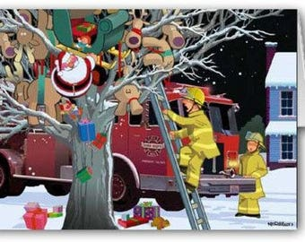 Firemen to the Rescue Christmas Card - Firefighter - 50009