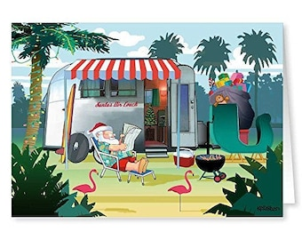 Relaxing in Warm Weather - Santas Camper - Christmas Card - 18 Cards & Envelopes - 30057a
