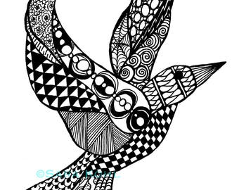 Zentangle Dove Print