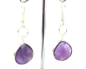 Amethyst pear shaped sterling silver earrings