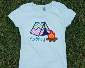 Girls Camping Shirt, Girly Camp Shirt, Campfire Shirt