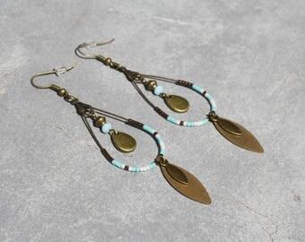 Earrings Creole drops antique bronze cream turquoise cat eye bead drops Miyuki beads faceted Bohemian jewelry designer