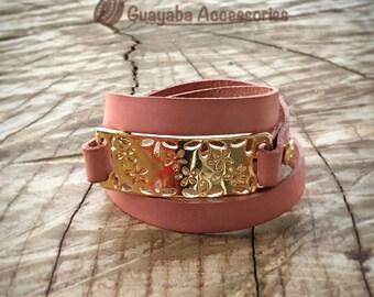 Leather bracelet. Pink Bracelet. Handmade Bracelet. Old Pink leather bracelet.