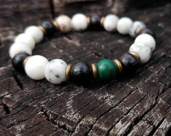 Malachite / Rosewood / Quartz Yoga Bracelet // Gemstone Yoga Bracelet // Men's Yoga Bracelet // Unisex Wrist Mala Bracelet