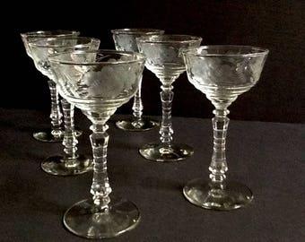 Libbey Rock Sharpe Cocktail Glasses, Set of 6, 3005-5 Pattern, Gray Etched Floral, 4 Fluid Ounces, Safedge on Rim