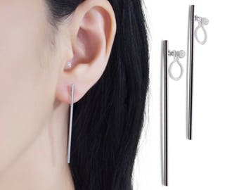 Long Bar Invisible Clip On Earrings, Silver Bar Clip On Stud Earrings, Non Pierced Earrings, Minimal Clip Earrings, Simple Modern Clip-ons