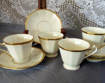 Hutschenreuther / Black Knight China BLK2 Hammersmith Ivory w/ Gold Trim- ONE or SET 4  Espresso Demitasse Cup & Saucer Set(s)