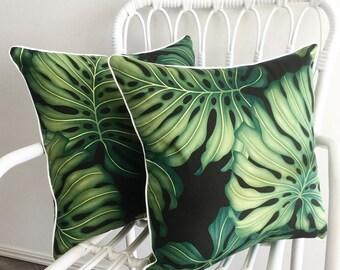 Pair of Tropical Cushion Covers - Monstera Leaf Black Palm Trees Natural Black Green Island Fabric Polynesian Hawaiian Sham Pillow Euro