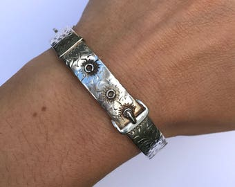 Vintage Sterling Silver Slim Buckle Bangle Engraved with Flowers, dated 1965