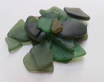 Scottish Natural Sea Glass Greens - 21 pieces