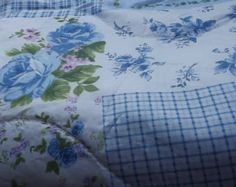 Soft light and warm printed patchwork throw or bedspread  blue floral
