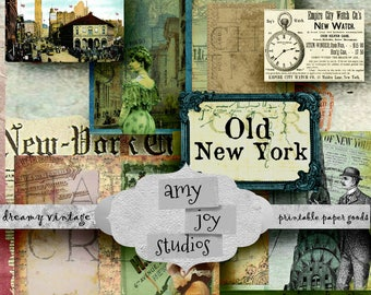 Old  New York  Printable Journal  Junk Journal Vintage  Digital paper new york  Travel Journal  Ephemera Pack  Mini Album Journal
